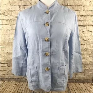 Cherokee 100% Linen Button Front Jacket